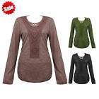 Fashion Women Embroidery Crochet Floral Casual Long Sleeve T Shirt Tops Blouse