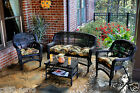 Outdoor Patio Furniture 4 Piece Dark Wicker Portside Seating Set with Cushions