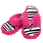 Lazy One Spa Slippers Thong Black White Pink Zebra Fringe Catching Some Zs