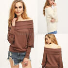 Fashion Women Long Sleeve Fold Off Shoulder Pullover Casual Kintted Sweater Tops