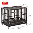 "37""  /42"" /48"" Heavy Duty Rolling Dog Crate Kennel Pet Cage House w / Castor & Tray"