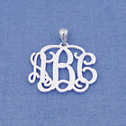 "Personalized Sterling Silver 3 Initial Monogram Pendant Necklace Jewelry 1"" SM31"