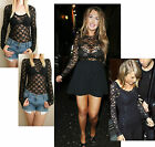 BLACK LACE BODYCON VEST TOP LONG SLEEVES SIZE 6 8 10 12 14 16