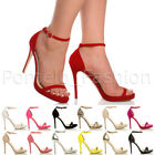 WOMENS LADIES HIGH HEEL BARELY THERE PEEPTOE STILETTO STRAPPY SANDALS SHOES SIZE