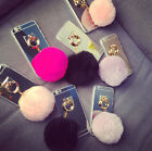 Luxury Rabbit Fur Hair Ball Tassel Crystal Clear Back Case Cover For iPhone 7