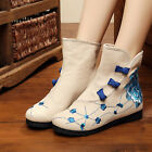 Comfy Women Retro button cloth shoes Flats Embroidery Flowers Ankle Boots 4Color