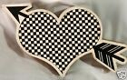 BRAND NEW WOODEN BLACK AND WHITE CHECKERED HERT AND ARROW - WALL/DESK DECOR