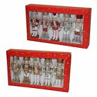 Christmas Decoration 5 Pack Nutcracker Style Figurines - Red or Gold