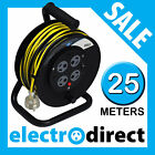 25m Power Extension Cable Reel with Built-in 4 Socket Board Overload Protection