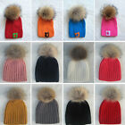 Child Baby Winter Knit Beanie Pelage Fur Pom Bobble Hat Crochet Ski Caps Cute
