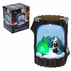 Christmas Decoration Fibre Optic Log Scene 523018 - Santa or Snowman
