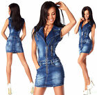 Sexy New Womens Denim Blue Jeans Mini Dress With Zippers  H 676