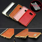 Luxury Metal Aluminum Bumper Frame Leather Back Case Cover for Samsung Cellphone