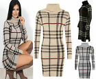 New Womens High Cowl Neck Long Sleeve Berry Checked Knitted Dress Winter Jumper