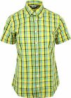 Relco Ladies Lemon Green Tartan Check Short Sleeve Button Down Collar Shirt
