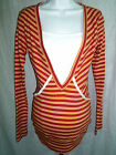 New Maternitees Maternity~ Striped V-neck Knit Top w Faux Cami ~ Medium