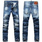 New Mens Italy Style Distressed Scratches *Slim Pants Blue JEANS Trousers D1368T