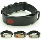 epilepsy color - IDtagged Adjustable Black Leather Medical Alert ID Bracelet Stainless Steel Tag