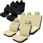 8pc Universal Set Car Seat Covers Full Set for Auto Tan/Black Airbag Compatible