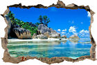 AMAZING TROPICAL BEACH 3D SMASHED HOLE IN  WALL EFFECT DECAL