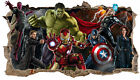 SUPER HEROE AVENGERS 3D SMASHED HOLE IN WALL ART DECAL