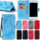 Embossed Two Side Flowers Butterfly Card Wallet PU Leather Case For Phones #C