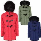LADIES DUFFLE TOGGLE TRENCH PARKA FUR HOODED COAT JACKET WINTER COATS PLUS SIZE