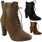WOMENS LADIES ZIP FAUX LEATHER HIGH HEEL LACE UP ANKLE BOOTS HEELED SHOES SIZE