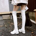 Womens Fashion Stretchy Pull On Flat Over The Knee Ridng Boots Shoes US 4.5-8