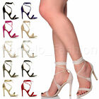 WOMENS LADIES SLIM HIGH HEEL WRAP AROUND LACE UP STRAPPY SANDALS SHOES SIZE