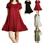 Round Neck Short Sleeve Loosse Fit Flared Tunic Dress Casual Rayon Casual S M L