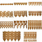 """5/8"""" to 5-1/8"""" Wide Gold Tan Floral Embroidered Venice Lace Guipure Trim by Yard"""