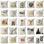 Vintage Sofa Pillow Case Cushion Cover Cartoon Linen Cotton Home Decor Fashion