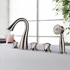 3 knobs Widespread Bathtub Mixer Faucet with Handheld Spray Oil Rubbed Bronze