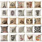 "18"" Retro Sofa Pillow Case Cushion Cover Cartoon Linen Cotton Fashion Home Decor"