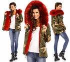 Sexy Parka Winter Military  Army-Bordeaux  Jacket With Fur P 943