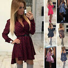 Summer Women Long Sleeve Party Tops Cocktail Casual Mini Shirt Dress Plus Size L