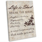 Life Is Short Inspirational Words Framed Canvas Wall Art Print Framed Picture