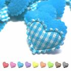 (50-100pcs) x 20mm Padded Gingham Cotton Heart Appliques for Trim/Bows/Card