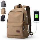 Canvas Backpack Rucksack Daypack Book bag School bag Travel bag Charging Port