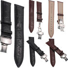 Genuine Leather Steel Stainless Butterfly Clasp Buckle Watch Band Strap 20-22MM