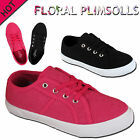 GIRLS LADIES FLORAL FLAT PLIMSOLES CASUAL LACE UP CANVAS SHOE PUMPS TRAINERS KID