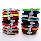 Shamballa Crystal Disco Beads Braided Leather Cuff Women Bracelet 8 inch
