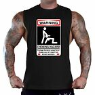 Men's Choking Hazard Warning Black T-Shirt Tank Top Gym Workout Funny Humor Tee