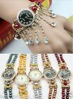 Lux Lovely Crystal Drop Pearl Bracelet Double Wrap Wrist Watch Wedding Bridal