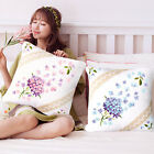 """18"""" Purple and Pink Wildflowers Bouquet Stamped Cross Stitch Throw Pillow Kit"""