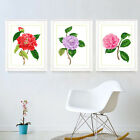 """Single Red Camellia Pink Purple Flowers Stamped Cross Stitch Kit,14.6""""x18.9"""""""