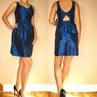 $251 5/48 Saks 5th Ave Sapphire Blue Cocktail Cutout Back Party Dress 2 8 12 NWT