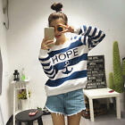 Women's Autumn Long Sleeve Anchor Striped Pattern Long Sleeve Tops T-Shirt Tee