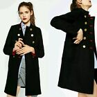 BLOGGER FAV STYLISH VTG DOUBLE BREASTED BLACK COAT PARKA DRESS BOMBER JACKET